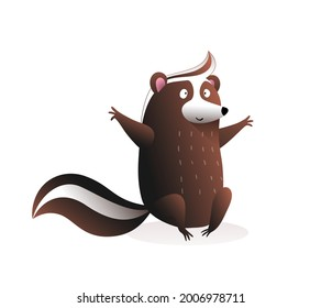 Cute baby skunk sitting , funny cartoon for children of a wild skunk or raccoon cub with bushy tail, character design. Vector illustration in watercolor style for children isolated on white.