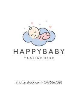 cute baby sleep for babyshop vector icon logo illustration design