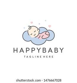süßer Baby-Schlaf für Babyshop Vektorsymbol-Design