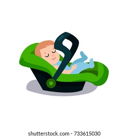 Cute baby sleeping on a green car seat, safe child traveling cartoon vector illustration