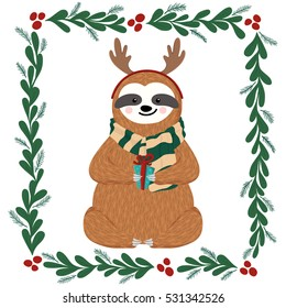Cute baby sloth dressed in antlers. Funny sloth holding gift box. Christmas design of hand drawn hipster animal, mistletoe frame, fir branches and other elements. Vector illustration