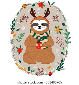 Cute baby sloth dressed in antlers. Funny sloth holding coffee cup. Christmas set of hand drawn animal, flowers, mistletoe, fir branches and other winter elements. Vector illustration