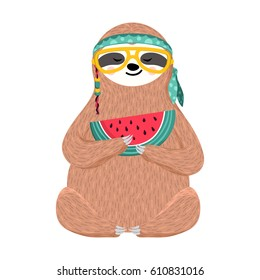 Cute baby sloth eating watermelon. Hipster animal wearing glasses and headband. Funny hippie sloth holding watermelon slice isolated on white. Vector