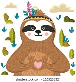 Cute baby sloth holding heart. Funny sloth in the forest. Adorable animal design for card, poster, baby shower, background, t-shirt print. Vector illustration in the childish style