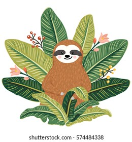 Cute baby sloth sitting among greenery. Summer print with funny sloth and throne of tropical leaves. Vector illustration