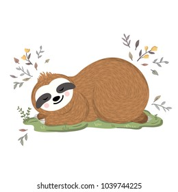 Cute baby sloth sleeping on the grass among flowers and leaves. Vector funny sloth illustration for summer and spring design. Adorable cartoon animal
