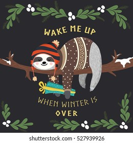 Cute baby sloth sleeping on the tree and holding gift box. Funny hipster sloth dressed up in winter style. Adorable cartoon animal. Vector winter forest illustration