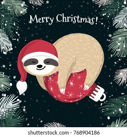 Cute baby sloth sleeping on the red Christmas ball. Adorable cartoon animal wearing Santa hat. Merry Christmas design. Vector winter forest illustration in the childish style