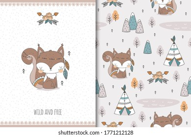 Cute baby squirrel. Cartoon Tribal   forest animal character. Kids card print template and seamless background pattern. Hand drawn surface design vector illustration.