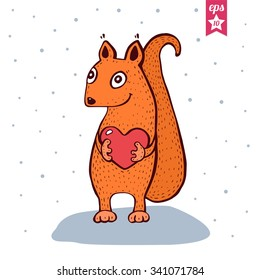 Cute Baby Squirrel With Heart In Hands Hand Drawn Vector Illustration Funny Colorful