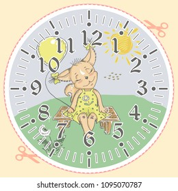 cute baby mouse on clock face stock vector royalty free 1095629648