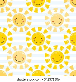 Cute Baby Sunshine Seamless Repeat Pattern