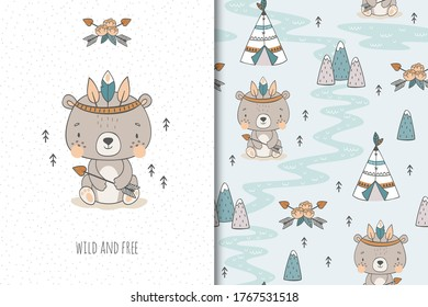 Cute baby teddy bear. Cartoon Tribal   forest animal character. Kids card print template and seamless background pattern. Hand drawn surface design vector illustration.