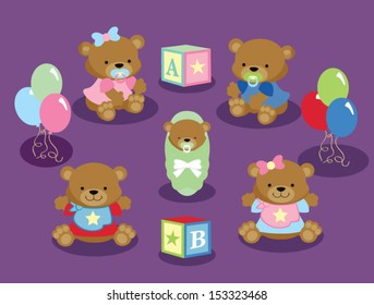 Cute Baby Teddy Bears with Baby Blocks and Balloons