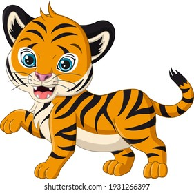Cute baby tiger cartoon on white background