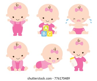 Cute baby or toddler girl vector illustration in various poses such as standing, sitting, crying, playing, crawling.