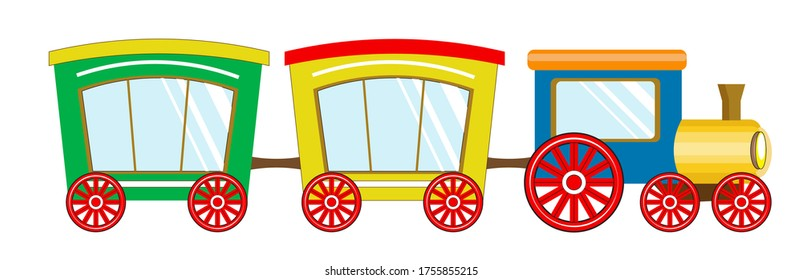 cute baby train, steam locomotive, with pipe and multicolored cars. Picture in hand drawing cartoon style, for t-shirt wear fashion print design, greeting card, postcard. baby shower. party invitation