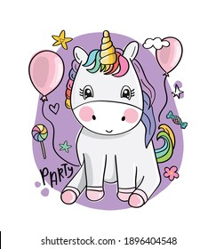 Cute baby unicorn with balloons party concept design