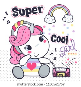 Cute baby unicorn cartoon wearing headphones and listening to music on polka dot background illustration vector.