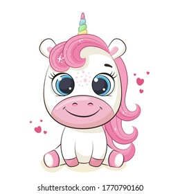 Cute baby unicorn illustration. Vector illustration for baby shower, greeting card, party invitation, fashion clothes t-shirt print.