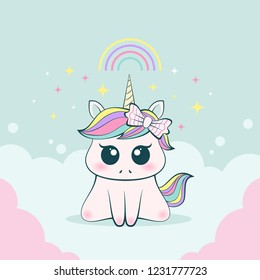 Cute baby unicorn innocent and adorable expression.