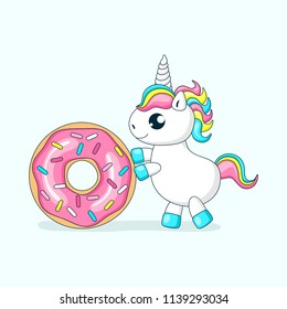 Cute baby unicorn playing with donut.Vector illustration