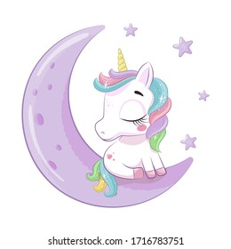 Cute baby unicorn sitting on the moon. Vector illustration for baby shower, greeting card, party invitation, fashion clothes t-shirt print.