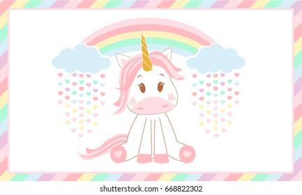 Cute Baby Unicorn Vector Illustration Rainbow And Clouds Magic Rain Of Colored Hearts