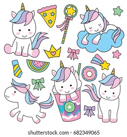 Cute baby unicorn vector illustration in pastel rainbow colors.