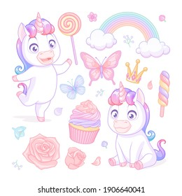 Cute baby unicorns with sweets, flowers and butterflies. Vector illustrations isolated on white background. Set of stickers, pins, patches in cartoon style.