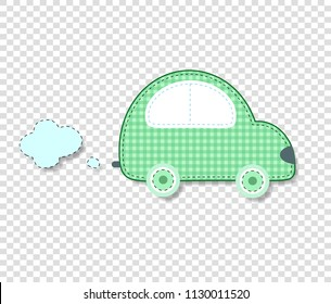Cute baby vector clip art element for scrapbook or baby shower greeting card and kids design. Cut out fabric or paper checkered green retro car sticker or icon isolated on transparent background.