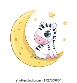 Cute baby zebra sitting on the moon. Vector illustration for baby shower, greeting card, party invitation, fashion clothes t-shirt print.