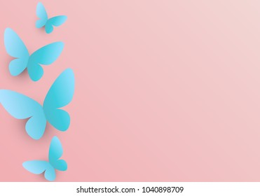 Cute Background with Butterflies. Paper cut 3d style. Perfect template for romantic, fresh, wedding ocassion. Pink and blue colors. Paper flying elements on pink background postcard.