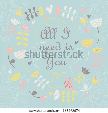 cute background flowers heart cartoon style stock vector royalty