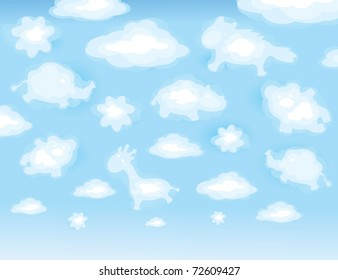 Cute background, funny toy clouds.