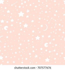 Cute background for kids fabric design made on cartoon style. Seamless pink vector pattern with white stars, moon great for girl and boys.