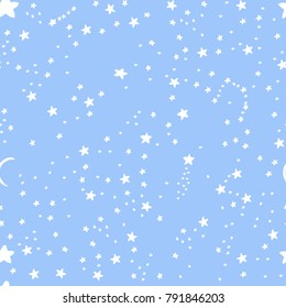 Cute background for kids fabric design made on cartoon style. Seamless blue vector pattern with white stars, moon great for girl and boys