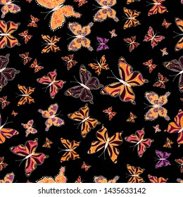 Cute background for paper, design of fabric, wrappers and wallpaper. Vector illustration. Seamless pattern. Fashion vector summer pattern with hand drawn butterflies.