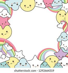 Cute background with sweet unicorn, stars, clouds and sun - kawaii style