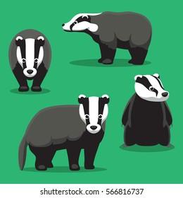 Cute Badger Cartoon Poses Vector Illustration