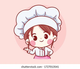 Cute Bakery chef girl welcome smiling cartoon art illustration logo. Premium Vector