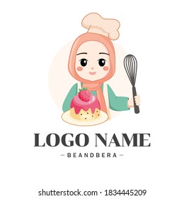Cute bakery muslim female chef  holding a cake smiling cartoon art illustration logo