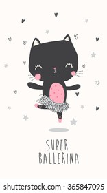 Cute ballerina cat illustration for apparel or other uses,in vector.