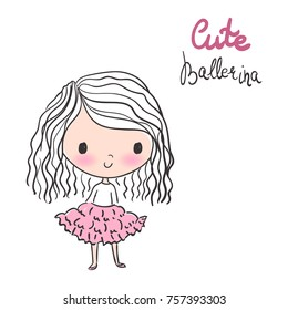 Cute Ballerina with curly hair in pink tutu vector illustration