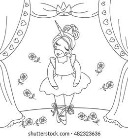 Cute ballerina dancer unicorn om the stage. Coloring book page. Beautiful princess unicorn.