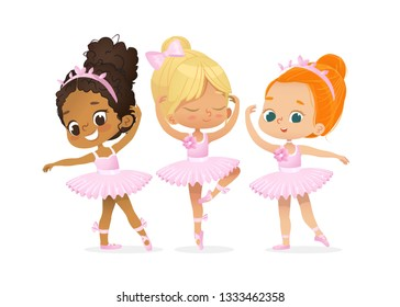 Cute Ballerina Girl Dancer Character Training Set. African American Child wear Pink Tutu Dress and Pointe Dance in Multiracial School. Caucasian Ballet Baby Girl Flat Cartoon Illustration.