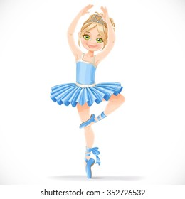 Cute ballerina girl dancing in blue tutu isolated on a white background