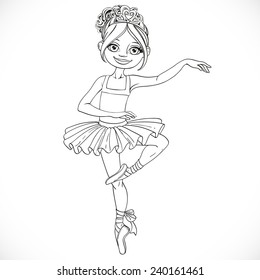 Cute ballerina girl dancing outlined isolated on a white background