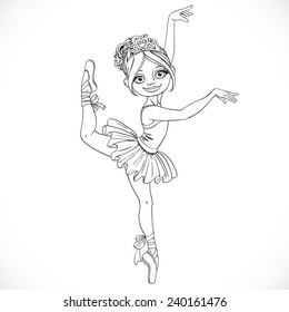 Cute ballerina girl dancing in tutu outlined isolated on a white background