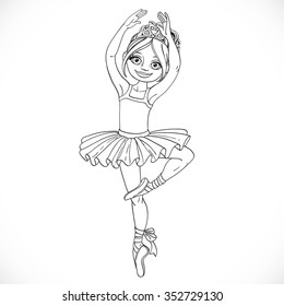 Cute ballerina girl dancing in tutu outlined for coloring isolated on a white background